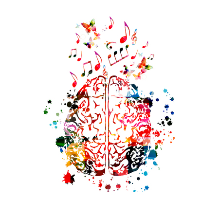 Colorful human brain with music notes isolated
