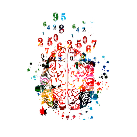 Colorful human brain with numbers isolated Illustration