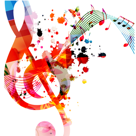 Music  with colorful music notes vector Illustration
