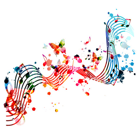 Music background with colorful music notes vector illustration design. Artistic music festival poster, live concert events, party flyer, music notes signs and symbols Stock Vector - 119463805