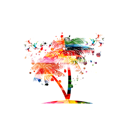 Colorful palm tree with hummingbirds isolated vector illustration background. Exotic travel poster, holidays and relaxing