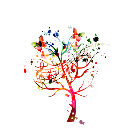 Music background with colorful tree and music notes vector illustration design. Artistic music festival poster, live concert events, party flyer, music notes signs and symbols