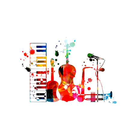 Music background with colorful music instruments isolated vector illustration design. Artistic music festival poster, live concert events, party flyer with piano,guitar, cello, sax, trumpet and mic Foto de archivo - 119463815