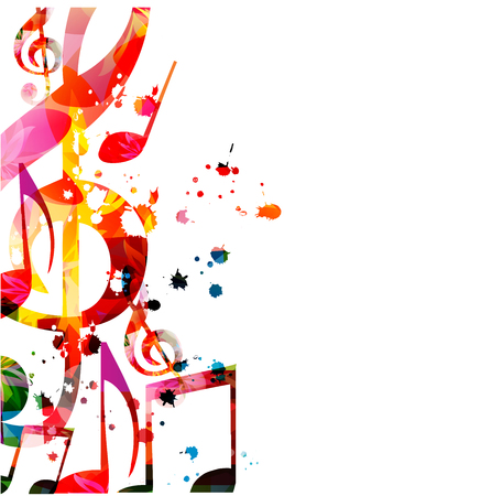 Music background with colorful music notes vector illustration design. Artistic music festival poster, live concert events, party flyer, music notes signs and symbols Stock Vector - 119463817