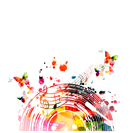 Music background with colorful vinyl record and music notes vector illustration design. Artistic music festival poster, events, party flyer, music notes signs and symbols