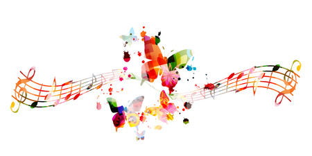 Music background with colorful music notes vector illustration design. Artistic music festival poster, live concert events, party flyer, music notes signs and symbols Stock Vector - 119463821
