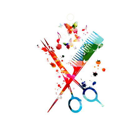 Hairdressing tools background. Colorful comb and scissors vector illustration design for beauty and hair salon, hairdressing 写真素材 - 119463828