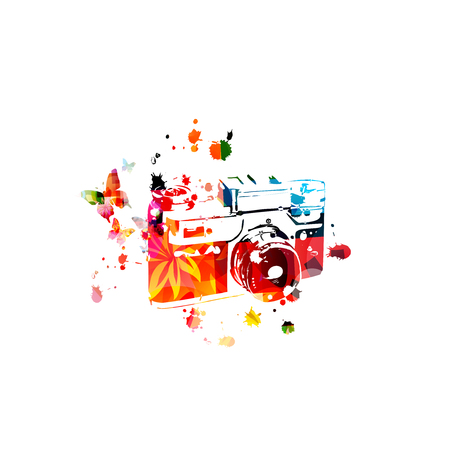 Colorful retro photo camera isolated vector illustration design. Photography courses and photography studio Иллюстрация