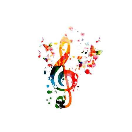 Music  with colorful music notes Stock Vector - 120729613