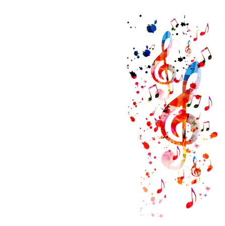 Music  with colorful music notes Stock Vector - 120729610