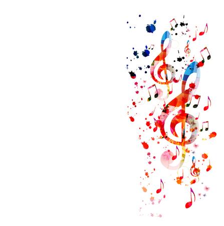 Musik mit bunten Musiknoten