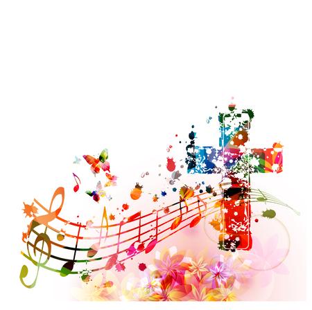 Croix chrétienne colorée avec des notes de musique isolées