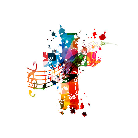 Cruz cristiana colorida con notas musicales aisladas
