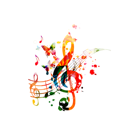 Music  with colorful music notes vector  イラスト・ベクター素材