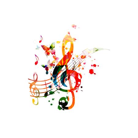 Musica con note musicali colorate vettore Vettoriali