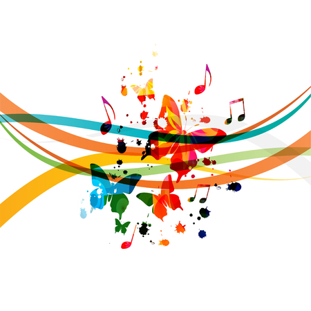 Music   with colorful music notes and butterflies