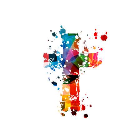 Cruz cristiana colorida aislada