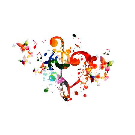 Disegno di illustrazione vettoriale isolato G-clef a forma di cuore. Sottofondo musicale colorato con farfalle. Poster di festival di musica artistica, eventi di concerti dal vivo, volantini per feste, segni e simboli di note musicali