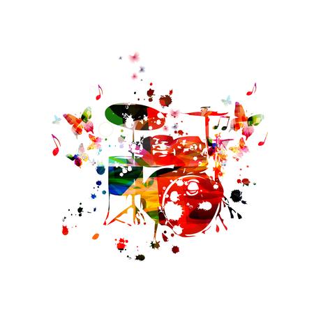 Kolorowy zestaw perkusyjny z nutami na białym tle projekt ilustracji wektorowych. Tło muzyczne. Plakat perkusyjny z nutami, plakat festiwalu muzycznego, koncerty na żywo, ulotka imprezowa