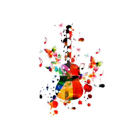 Colorful guitar with music notes isolated vector illustration design. Music background. Guitar poster with music notes, music festival poster, live concert events, party flyer