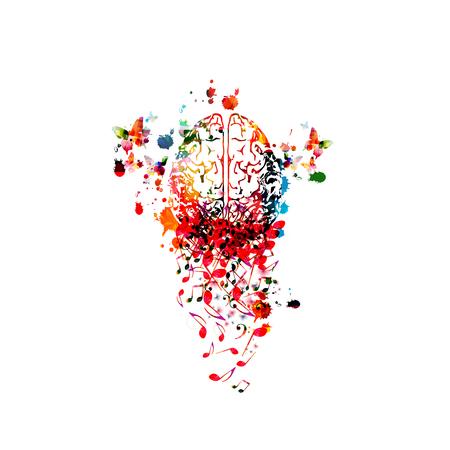 Fondo de música con colorido cerebro humano y notas musicales aisladas diseño de ilustración vectorial. Cartel de festival de música artística, eventos de conciertos en vivo, volante de fiesta, símbolos de notas musicales, composición