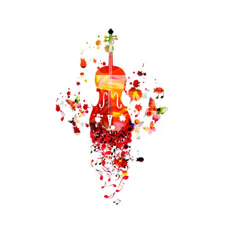 Violoncello colorato con note musicali isolato illustrazione vettoriale design. Musica di sottofondo. Poster per violoncello con note musicali, poster del festival, eventi di concerti dal vivo, volantino per feste Vettoriali