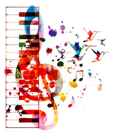 Kolorowe klawisze fortepianu z G-clef na białym tle projekt ilustracji wektorowych. Tło muzyczne. Plakat z klawiaturą fortepianową z nutami, plakat festiwalu muzycznego, koncerty na żywo, ulotka imprezowa