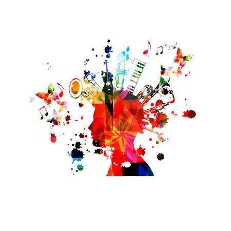 Musikinstrumente Hintergrund mit Musiknoten. Buntes Doppelglockeneuphonium, Violoncello, Trompete, Klaviertastatur, Euphonium, Saxophon und Gitarre mit isoliertem Vektorillustrationsdesign des menschlichen Kopfes Vektorgrafik