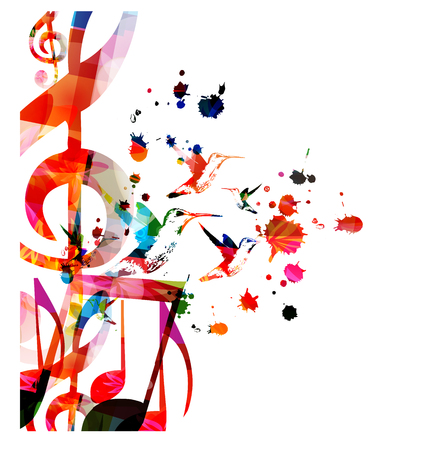 Music background with colorful music notes vector illustration design. Artistic music festival poster, live concert events, party flyer, music notes signs and symbols Stock Vector - 122136920