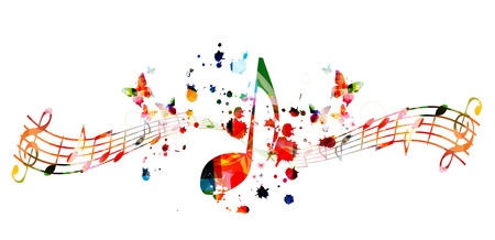 Musica di sottofondo con note musicali colorate illustrazione vettoriale design. Poster di festival di musica artistica, eventi di concerti dal vivo, volantini per feste, segni e simboli di note musicali Vettoriali