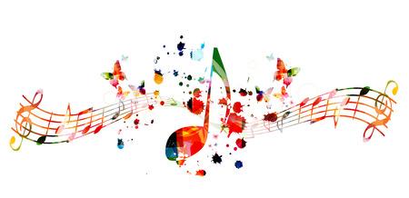 Musique de fond avec des notes de musique colorées vector illustration design. Affiche du festival de musique artistique, événements de concert en direct, flyer de fête, signes et symboles de notes de musique Vecteurs