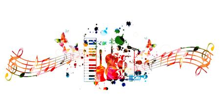 Musikinstrumente Hintergrund mit Musikpersonal. Bunte Klaviertastatur, Gitarre, Violoncello, Saxophon, Trompete und Mikrofon mit Musiknoten isoliertes Vektorillustrationsdesign Vektorgrafik