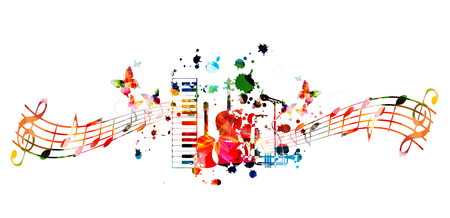 Sfondo di strumenti musicali con personale musicale. Tastiera di pianoforte colorata, chitarra, violoncello, sassofono, tromba e microfono con note musicali isolate illustrazione vettoriale design Vettoriali