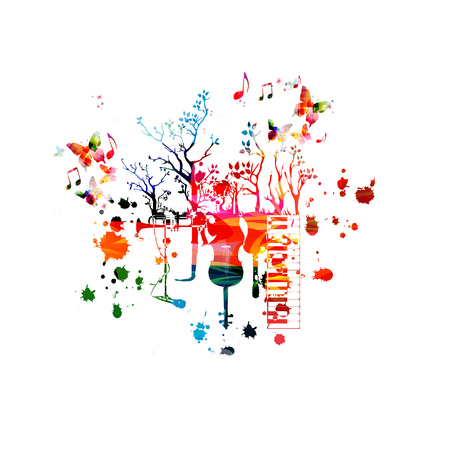 Music instruments background with music notes. Colorful piano keyboard, guitar,violoncello, saxophone, trumpet and microphone with trees isolated vector illustration design Иллюстрация