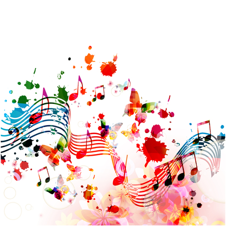 Music background with colorful music notes vector illustration design. Artistic music festival poster, live concert events, party flyer, music notes signs and symbols