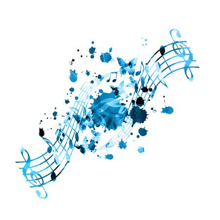 Musique de fond avec des notes de musique vector illustration design. Affiche du festival de musique artistique, événements de concert en direct, flyer de fête, signes et symboles de notes de musique