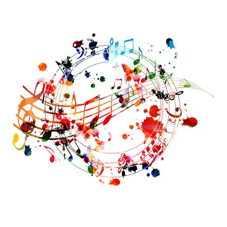 Music background with colorful music notes vector illustration design. Artistic music festival poster, live concert events, party flyer, music notes signs and symbols Vetores