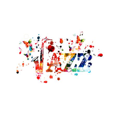 Jazzowe słowo z saksofonem i nutami na białym tle projekt ilustracji wektorowych. Tło muzyczne. Plakat saksofonowy z nutami, plakat festiwalowy, koncerty na żywo, ulotka imprezowa