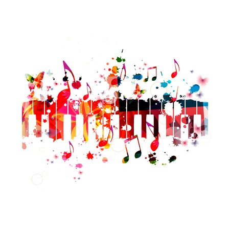 Colorful piano keys with music notes isolated vector illustration design. Music background. Piano keyboard poster with music notes, festival poster, live concert events, party flyer Иллюстрация