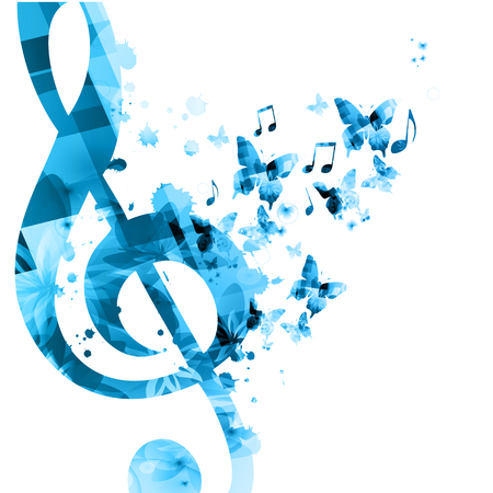 Music background with music notes vector illustration design. Artistic music festival poster, live concert events, party flyer, music notes signs and symbols