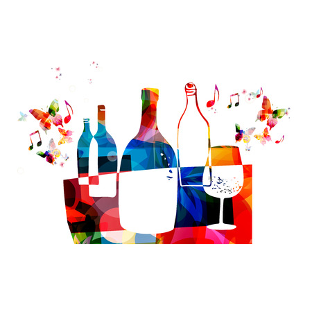 Colorful wine glass with bottles