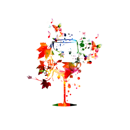 Colorful wine glass with vine