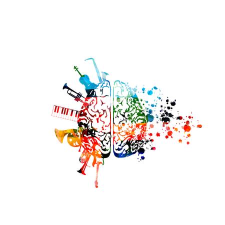 Música con cerebros coloridos e instrumentos musicales. Ilustración de vector