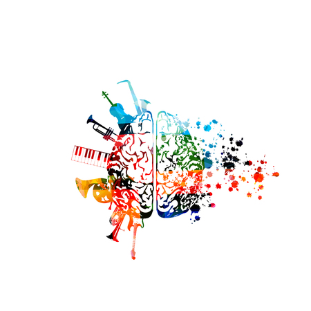 Musique avec cerveau coloré et instruments de musique Vecteurs
