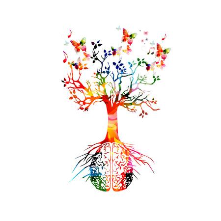 Cerebro humano colorido con árbol en crecimiento