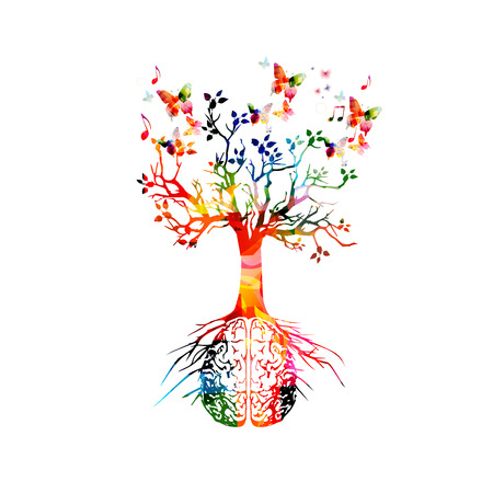 Colorful human brain with growing tree Çizim