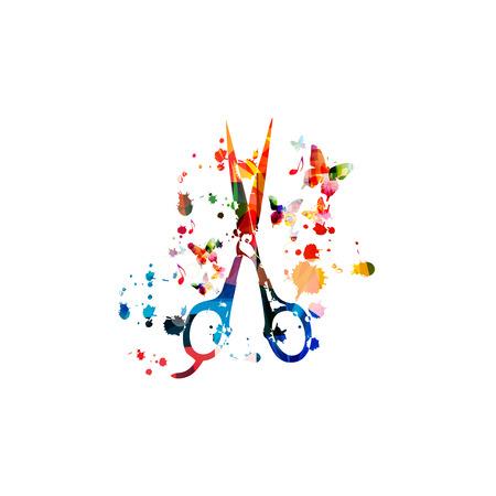 Conception de ciseaux isolés colorés pour salon de beauté et de coiffure, outil de coiffure