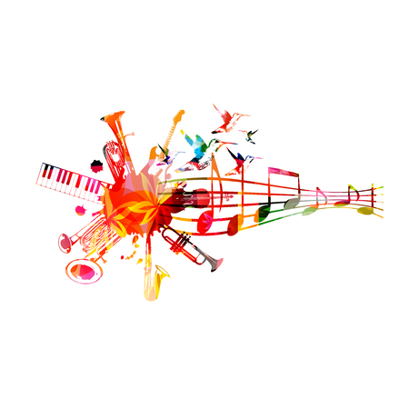 Music instruments  with music staff. Stock Vector - 124209606