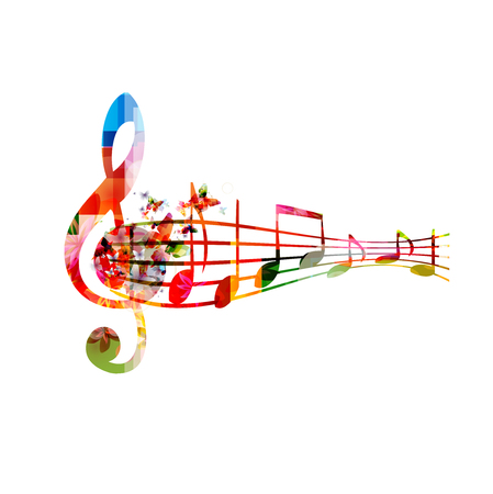 Music with colorful G-clef and music notes