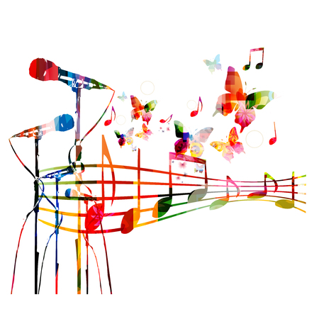 Colorful microphones with music notes isolated